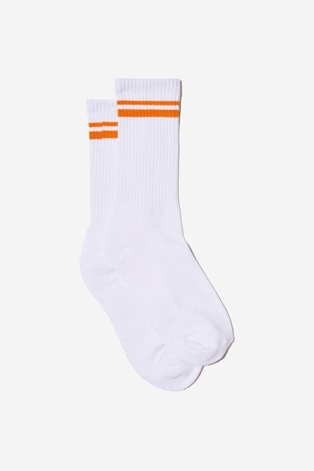Retro Ribbed Socks, WHITE ORANGE STRIPE