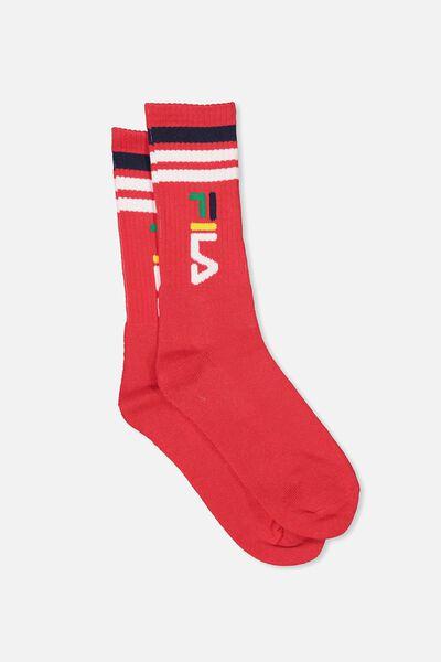 Fila Ribbed Sock, FILA LCN_VERT LOGO_LYCHEE