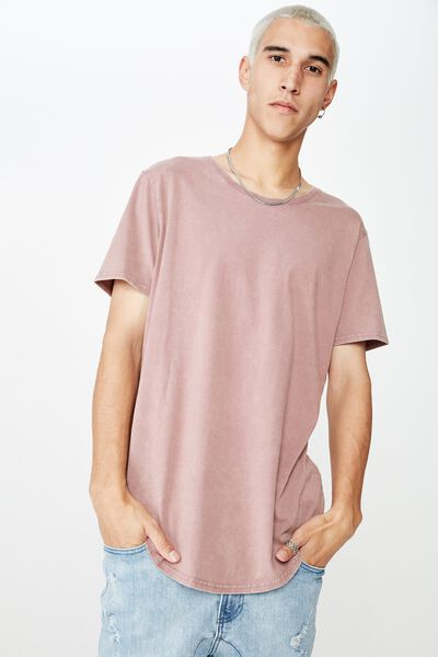 Washed Curved T Shirt, WASHED GRAPE