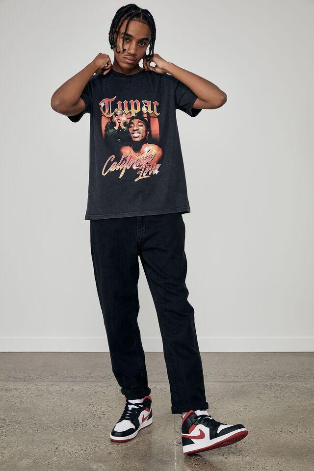 Regular Music Merch T Shirt, LCN BRA WASHED BLACK/TUPAC