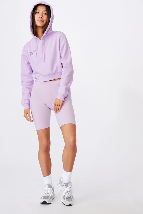 Classic Crop Graphic Hoodie, ORCHID BLOOM/INSTRUCTIONS