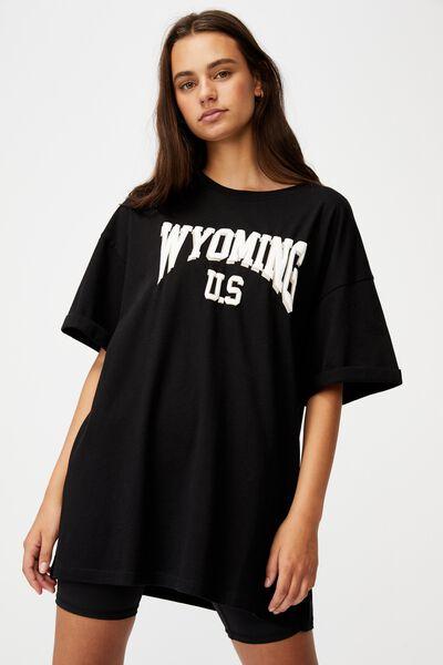 Oversized Graphic T Shirt, BLACK/WYOMING
