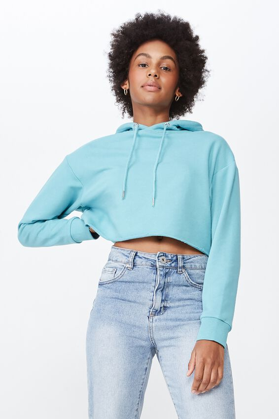 Raw Edge Crop Hoodie, MEADOW BROOK