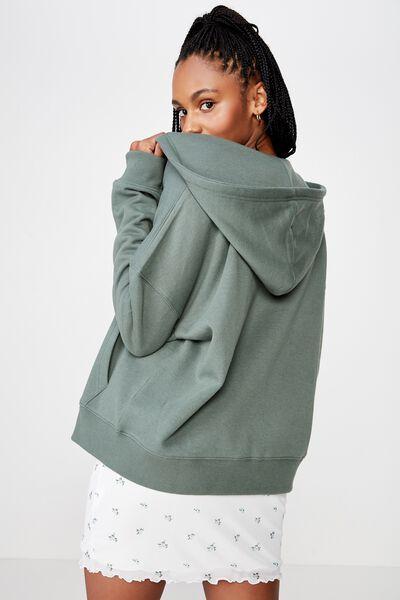Hooded Fleece Jacket, FOREST KHAKI