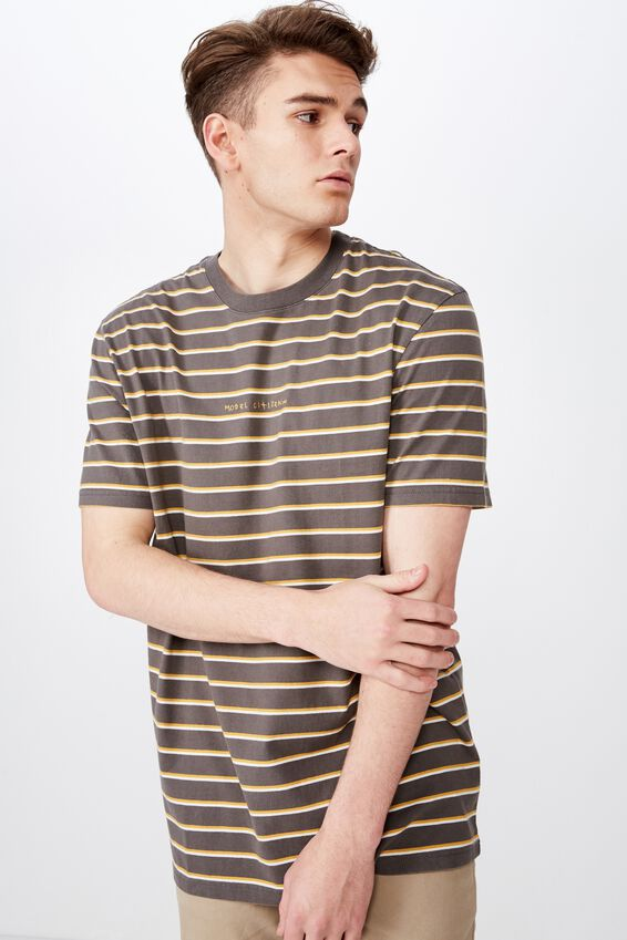 Embroidered Stripe T Shirt, TORNADO/CITIZEN STRIPE