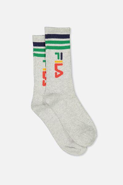Fila Ribbed Sock, FILA LCN_VERT LOGO_GREY MARLE