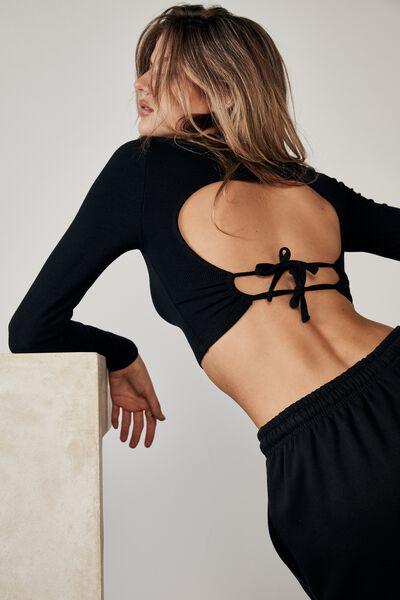 Long Sleeve Open Back Double Tie Top, BLACK