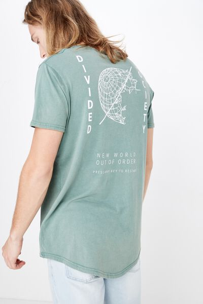Curved Graphic T Shirt, WASHED SAGEBRUSH/DIVIDED SOCIETY