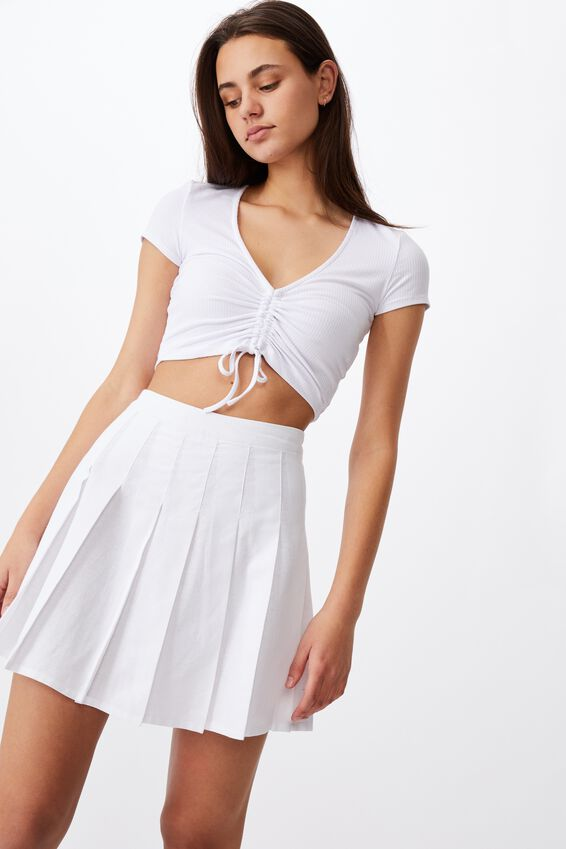 Pleated Skirt, WHITE