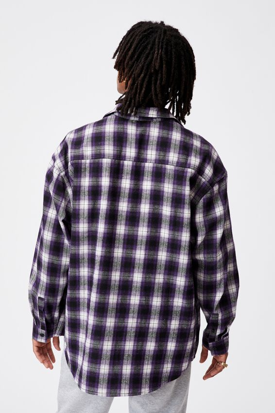 Oversize Button Up Shirt, PURPLE CHECK