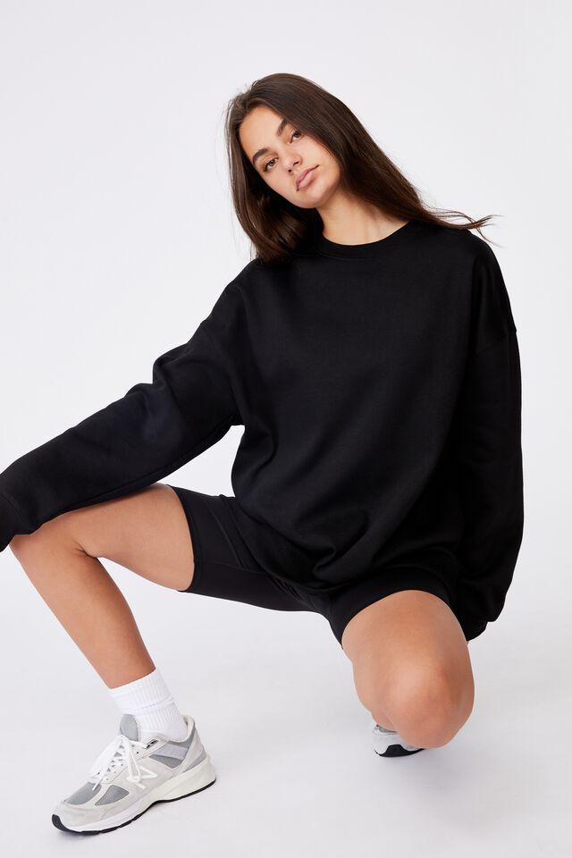 Oversized Crew Neck Sweater, BLACK