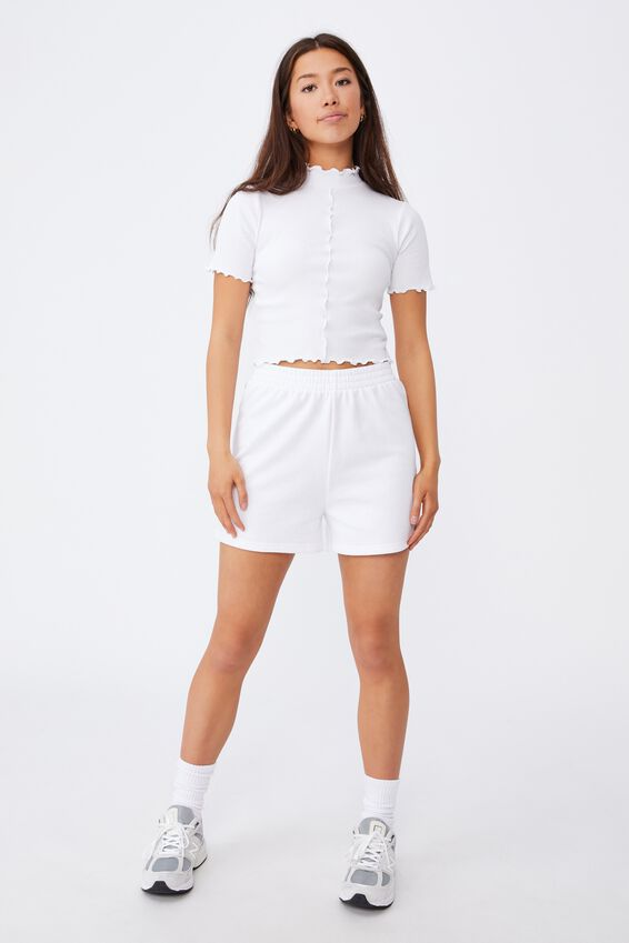 Short Sleeve Lettuce Edge Detail Top, WHITE