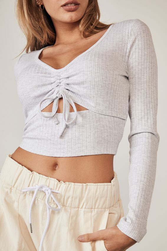 Ls Ruched Cut Out Top, SILVER MARLE