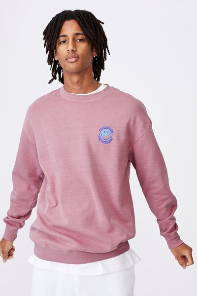 Smiley License Crew, WASHED FUSCHIA
