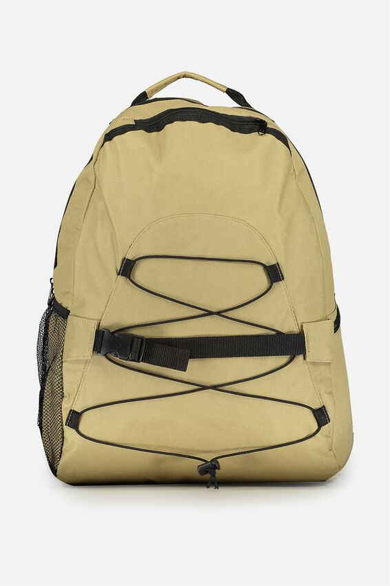 Toggle Front Back Pack, TAN W BLK TRIM