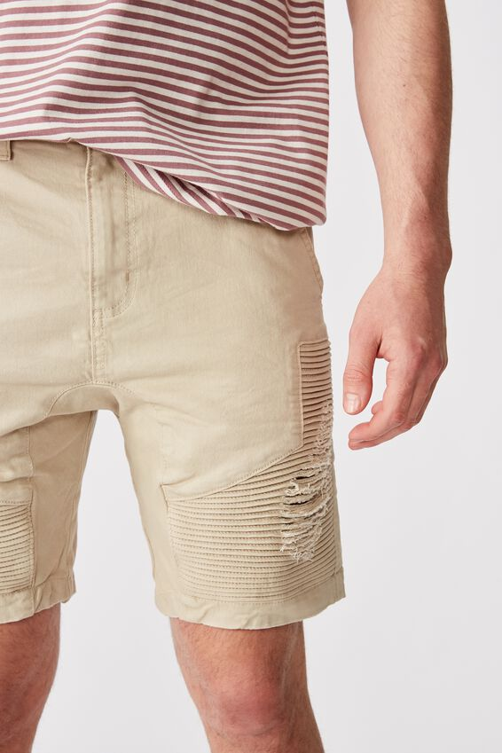 Moto Denim Short, ECRU
