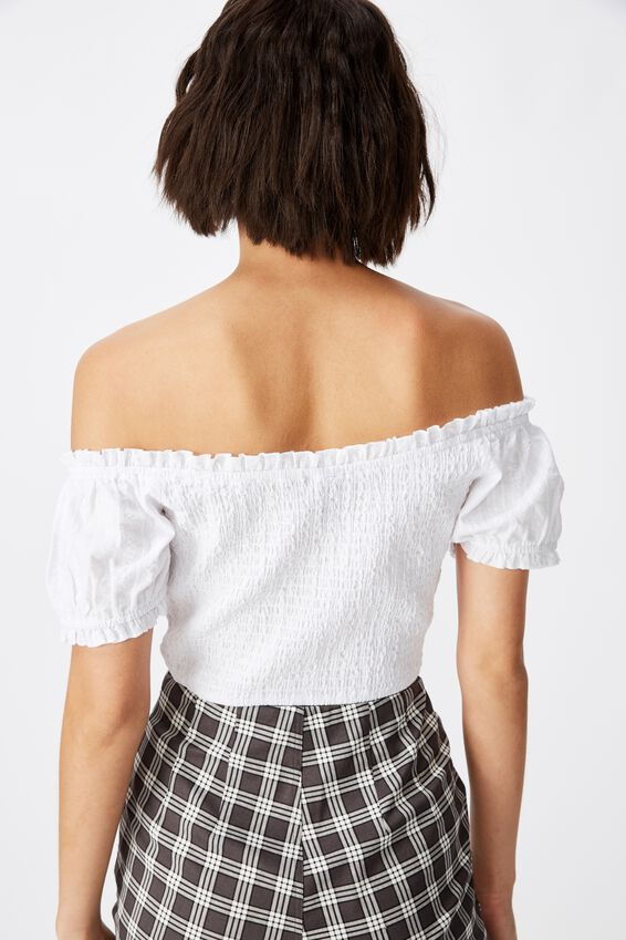 Off-Shoulder Ruched Top, WHITE