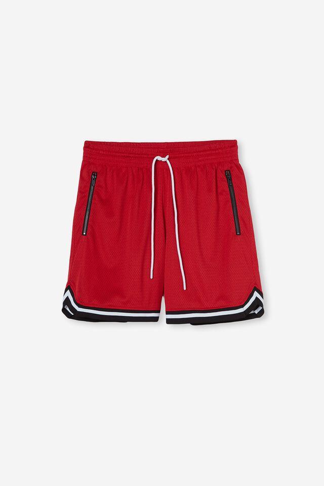 Basketball Short, RED/JACQUARD HEM