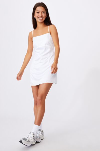 Satin Mini Dress, WHITE