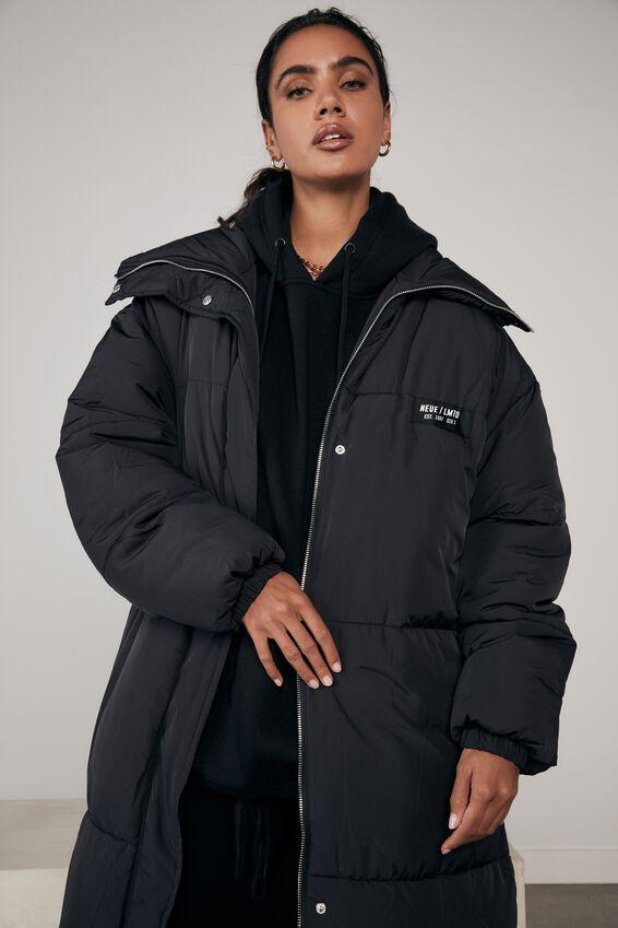 Longline Puffa Jacket, BLACK