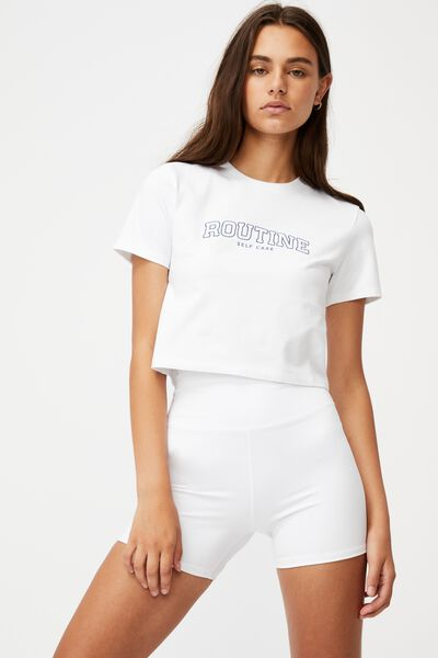 Fitted Graphic T Shirt, WHITE/ROUTINE SELF CARE