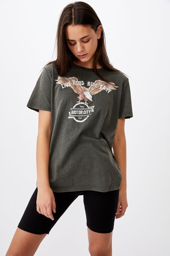 Relaxed Graphic T Shirt, WASED ASPHALT/MOTOR CITY EAGLE