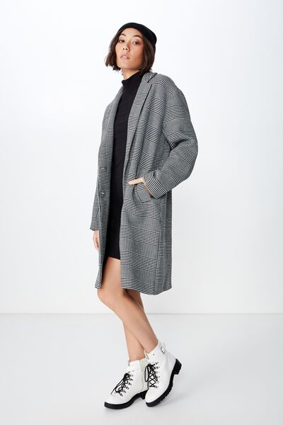 Check Duster Coat, BLACK & WHITE CHECK