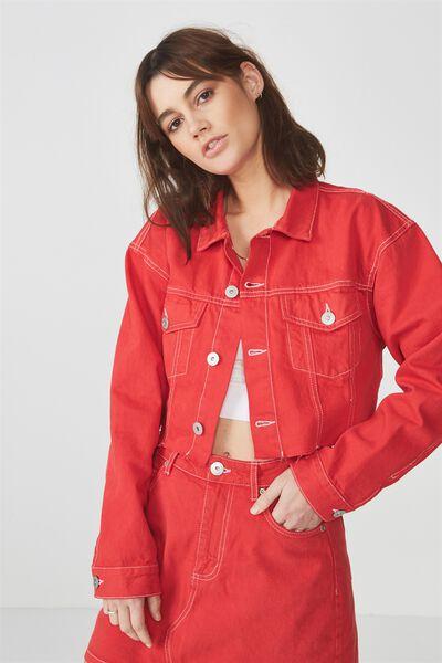 Crop Denim Jacket, LYCHEE_WHITE