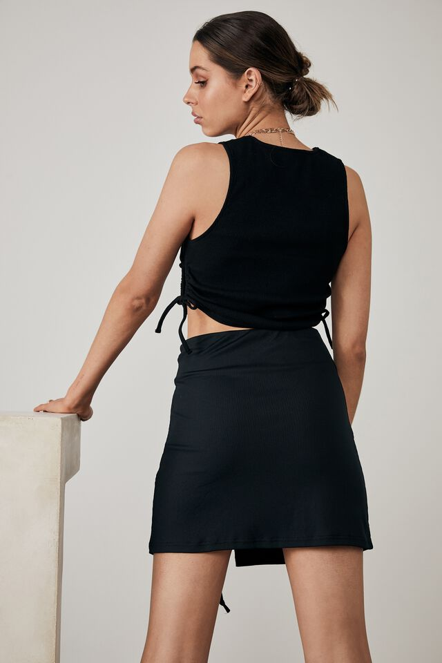 Ruched Cut Out Tank, BLACK
