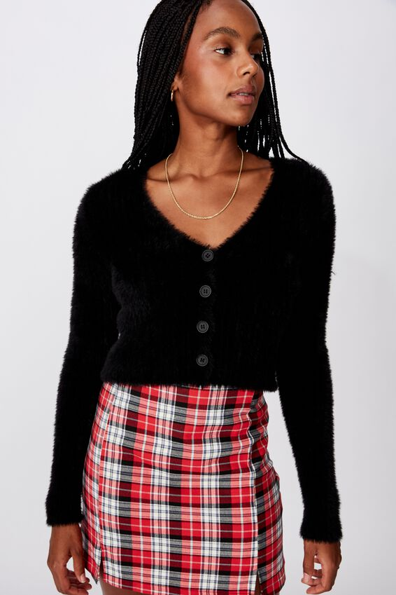Fluffy Crop Cardi, BLACK