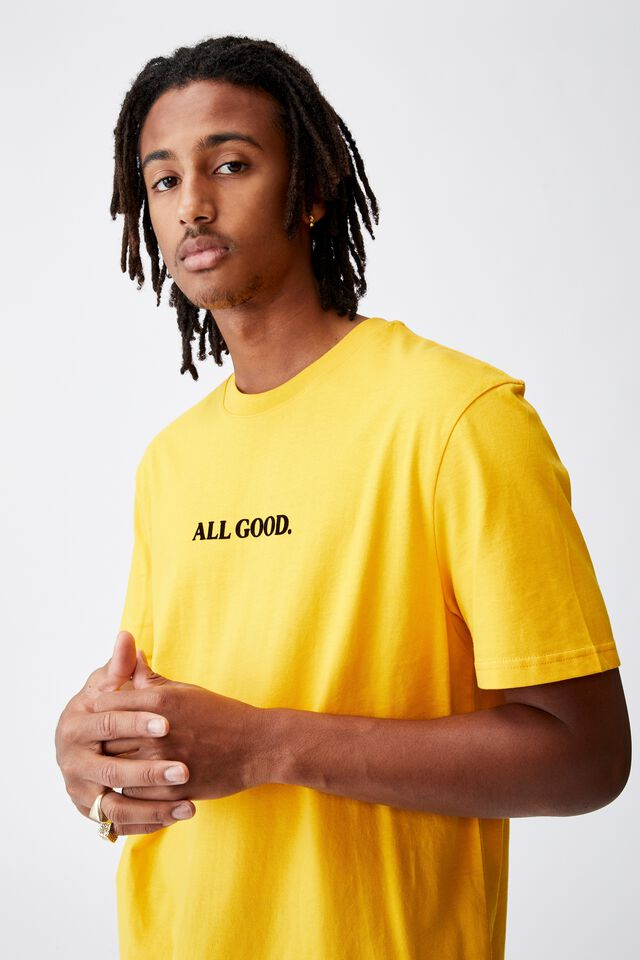 Regular Graphic T Shirt, GOLDEN ROD/ALL GOOD