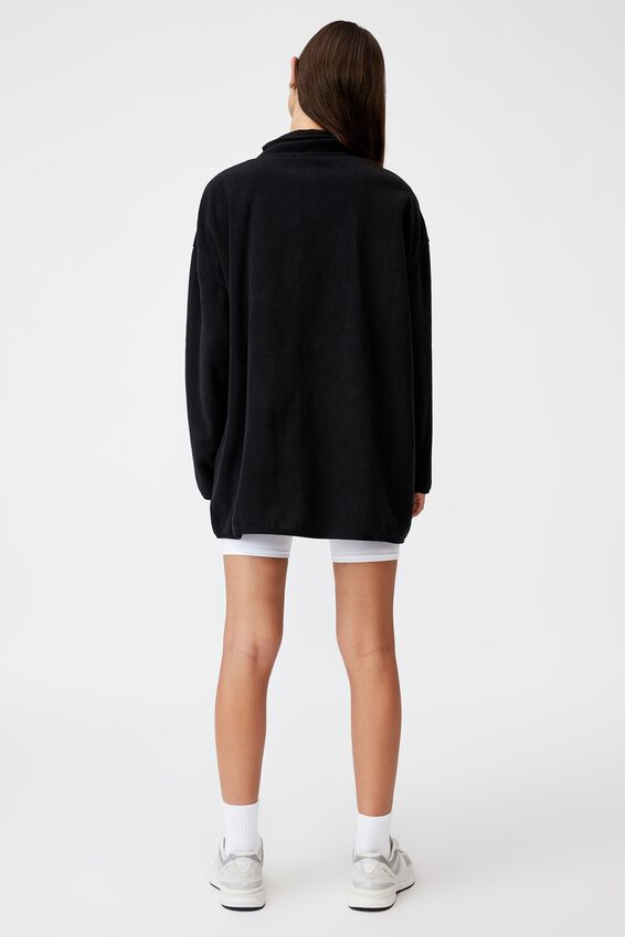 Oversized Funnel Neck Zip Through, BLACK/INTL COMP