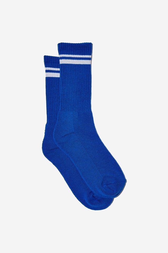 Retro Ribbed Socks, BLUE WHITE STRIPE
