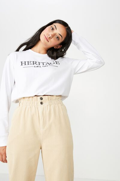 Long Sleeve Toggle Front Crew, WHITE_HERITAGE 92