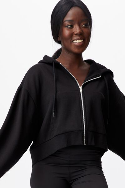 Oversized Zip Thru Hoodie, BLACK