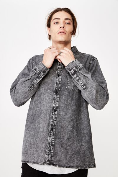 Long Sleeve Denim Shirt, WASHED BLACK