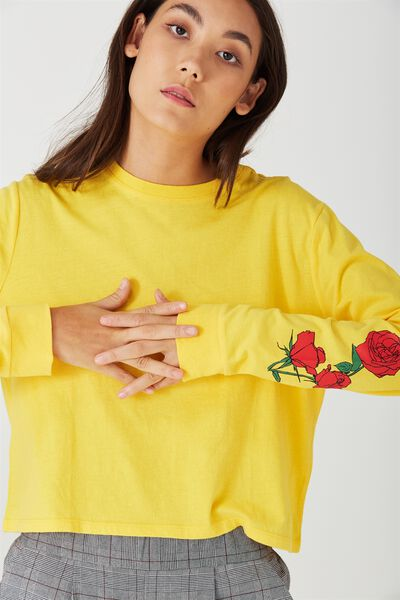 90S Crop Longsleeve Cuff, ROSES_LEMON CHROME
