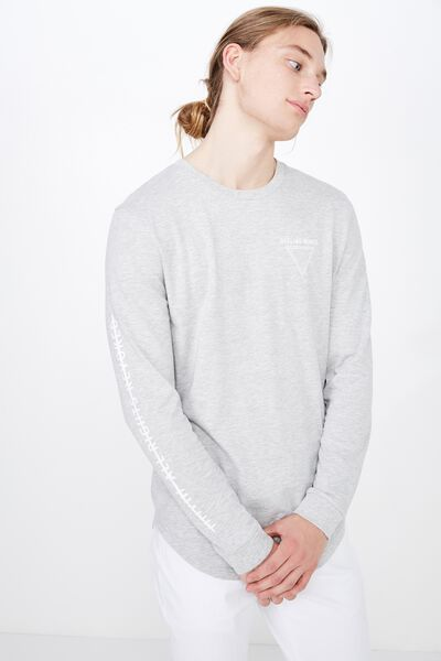 Curved Long Sleeve Graphic T Shirt, GREY MARLE/OFFLINE MINDS