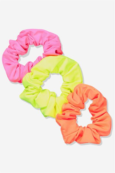 Planet Factorie Scrunchies, NEON 3PK