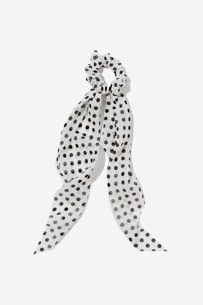 Scarf Scrunchie, WHITE POLKA DOT