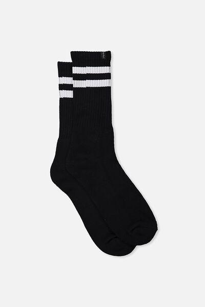 Retro Ribbed Socks, BLACK_WHITE STRIPE
