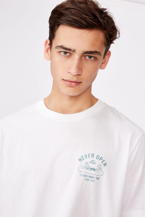 Regular Graphic T Shirt, WHITE/NEVER OPEN