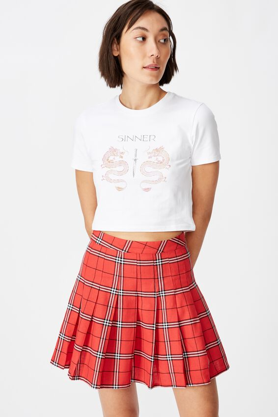 Pleated Skirt, ALICIA CHECK_RED