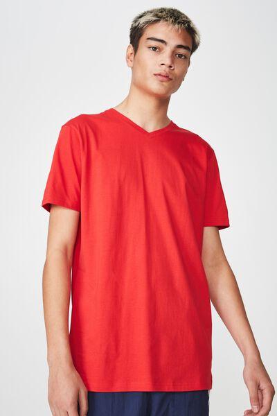 Slim V Neck T Shirt, LYCHEE
