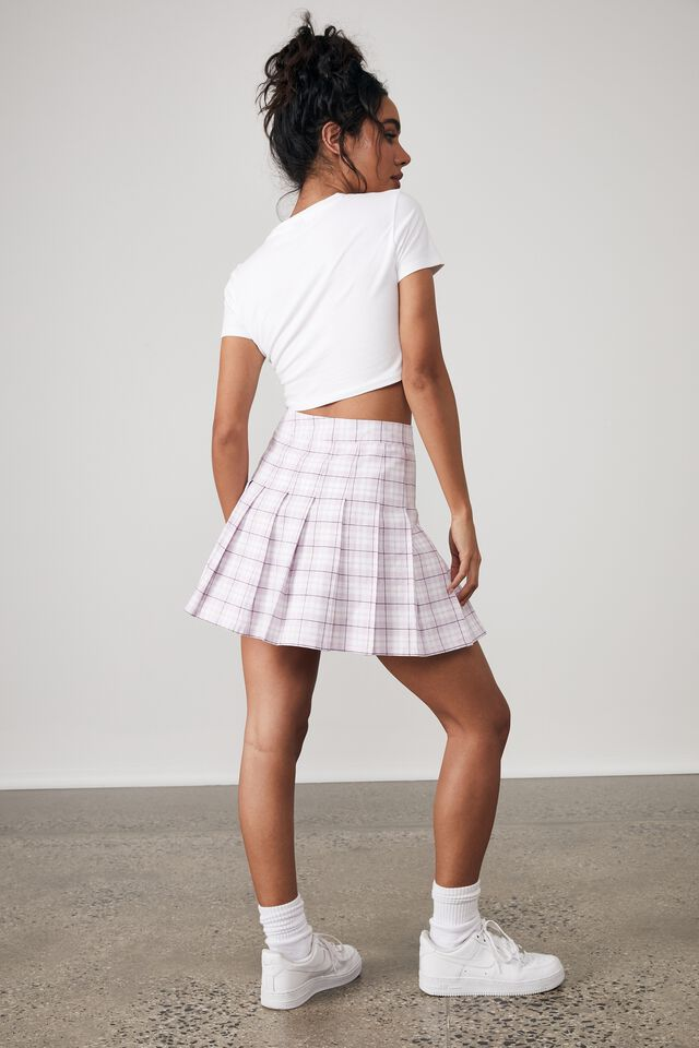 Pleated Skirt, NOVA CHECK_VIOLET BLUSH