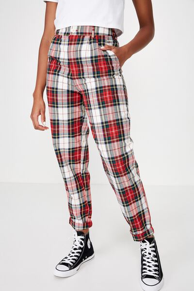 Tapered Leg Check Pant, CREAM TARTAN