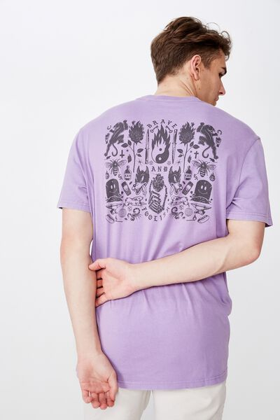 Regular Graphic T Shirt, WASHED PURPLE/MASH UP