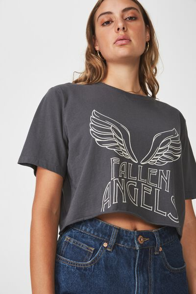 Short Sleeve Raw Edge Crop T Shirt, ASPHALT_FALLEN ANGELS