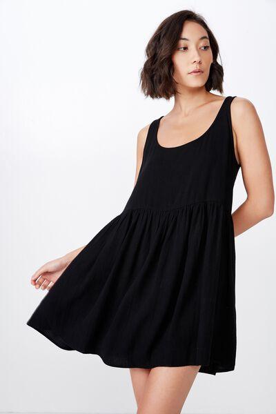 Sleeveless Babydoll Dress, BLACK
