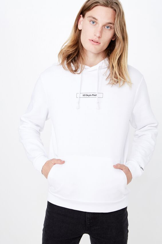 Graphic Hoodie, WHITE/ALL DEBTS PAID